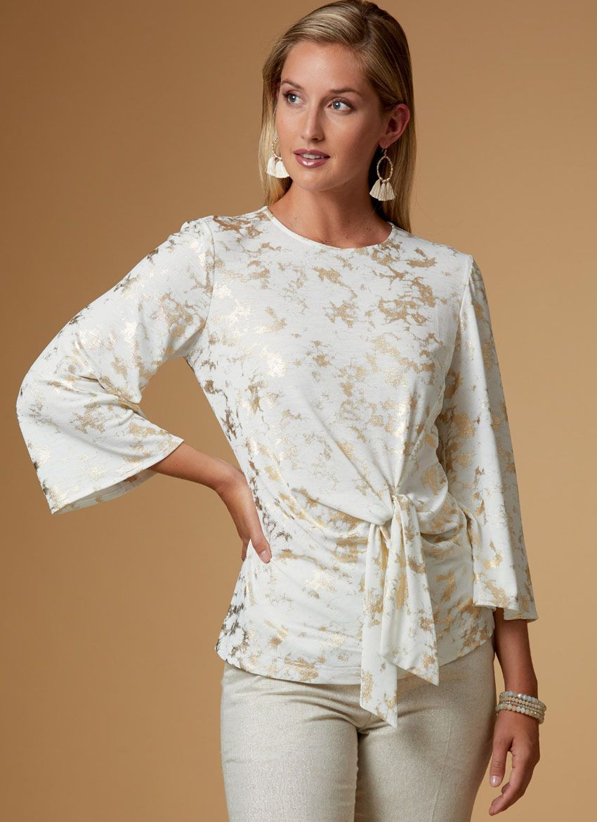 B6628 Butterick Schnittmuster Shirt in Wickeloptik