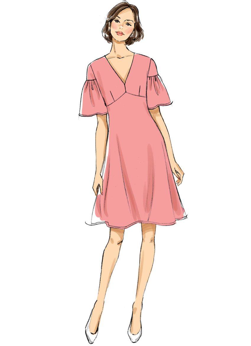 B6678 Butterick Schnittmuster Kleid Maxikleid