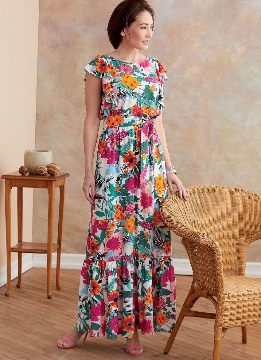 B6677 Butterick Schnittmuster Kleid Maxikleid