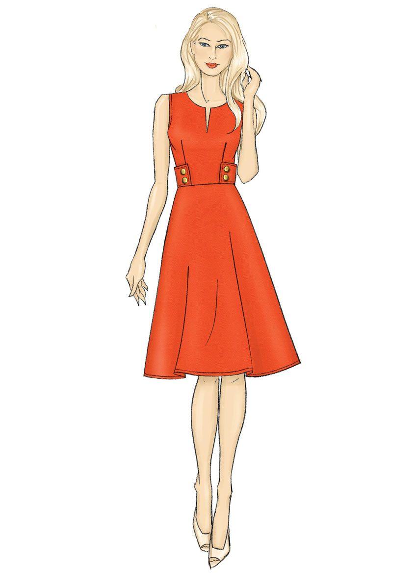 B6676 Butterick Schnittmuster Kleid im Retrolook