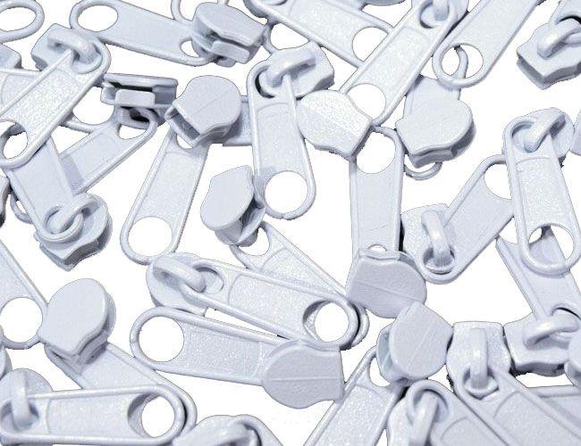 Zipper für Reißverschlüsse 3mm weiß 10er-Pack