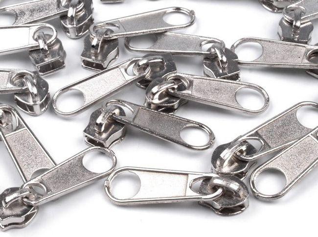 Zipper für Reißverschlüsse 3mm silber 10er-Pack