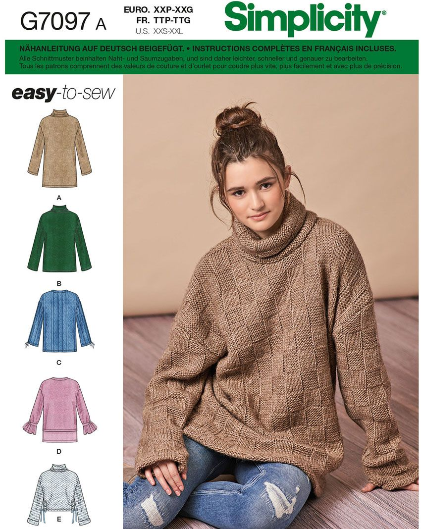 7097 Simplicity Schnittmuster Pullover EASY
