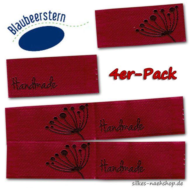 Handmade Label Pusteblume rot 4er-Pack