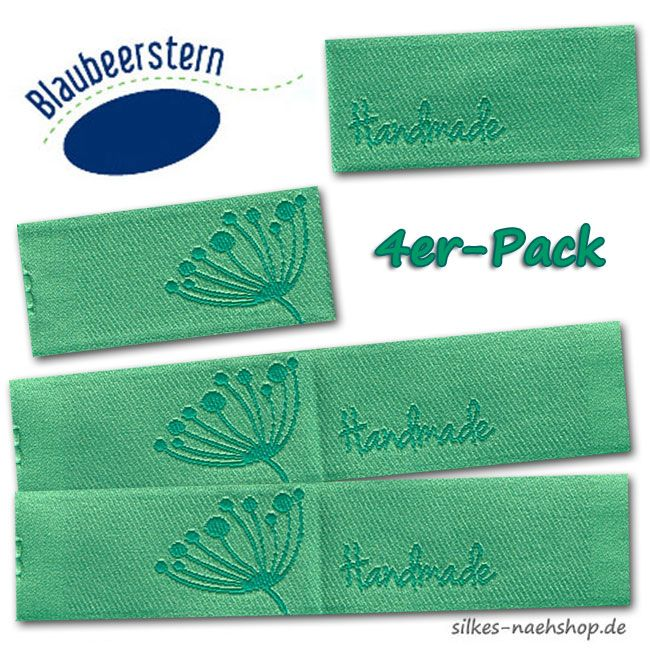 Handmade Label Pusteblume mint 4er-Pack