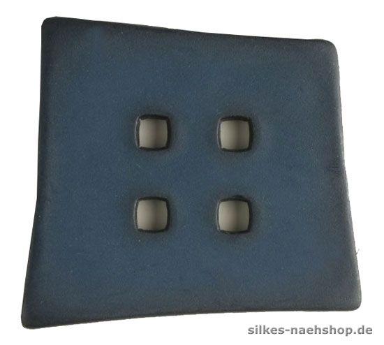 Knopf asymetrisches Quadrat 55mm blau