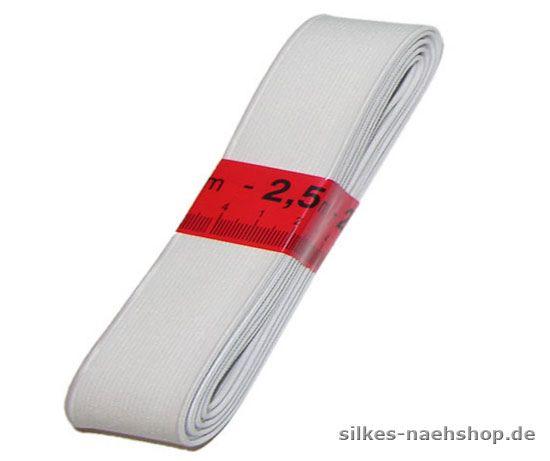 2,5m Gummiband 40mm weiß
