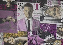 1m Dekostoff Fashion-Zeitschriften lila
