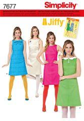 7677 Simplicity Schnittmuster 60er Jahre Retro-Kleid