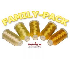 MARATHON Stickgarn Set Rayon FAMILY-PACK gelb