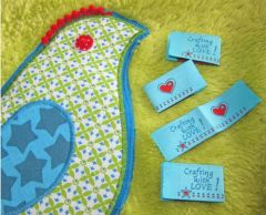 Handmade Label CRAFTING with LOVE türkis 4er-Pack