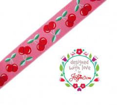 farbenmix Webband Jolly Cherry Kirschen schwarz