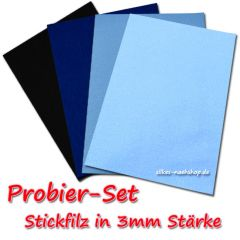 Stickfilz Probier-Set 3mm blau