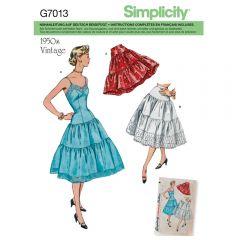 7013 Simplicity Schnittmuster Retro Unterkleid Unterrock
