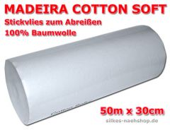 50m MADEIRA STICKVLIES COTTON SOFT 50g/qm weiß