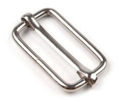 Gurtversteller Schiebeschnalle aus Stahl silber 40mm