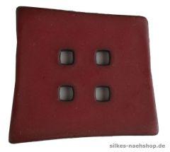 Knopf asymetrisches Quadrat 55mm dunkelrot