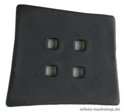 Knopf asymetrisches Quadrat 55mm schwarz