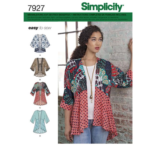 7927 Simplicity Schnittmuster Kimonojacke - Maschinensticken, Nähen ...