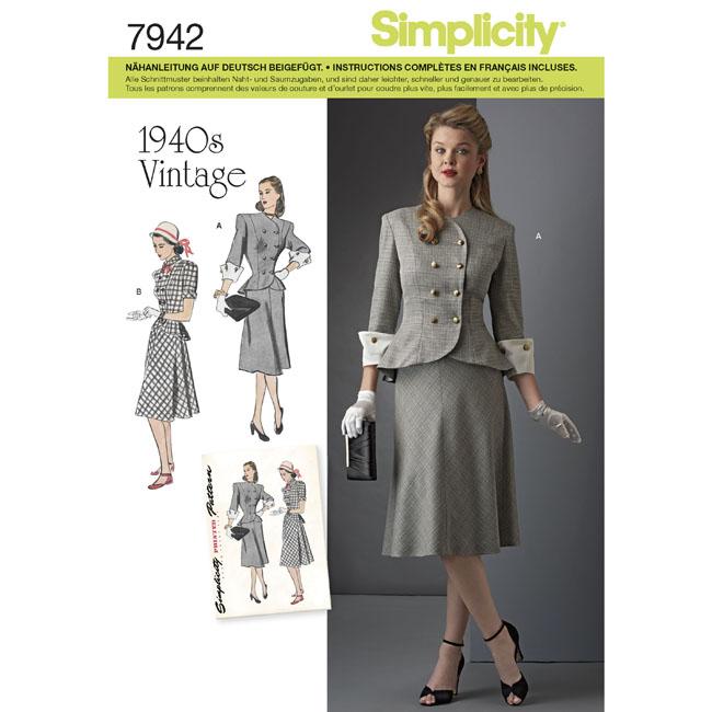 Simplicity Schnittmuster Retro Kleid Kostüm 40er Jahre ...
