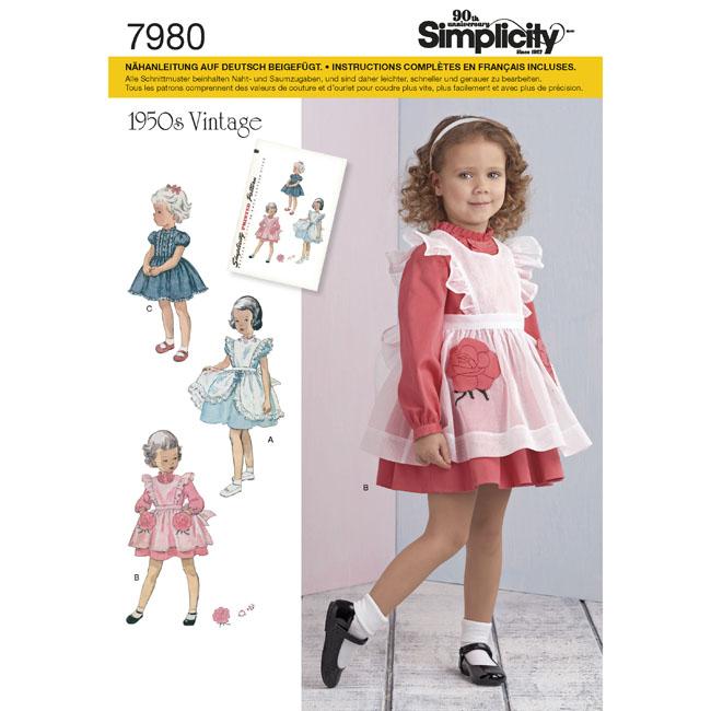 7980 Simplicity Schnittmuster Kinder Retrokleid - Maschinensticken ...