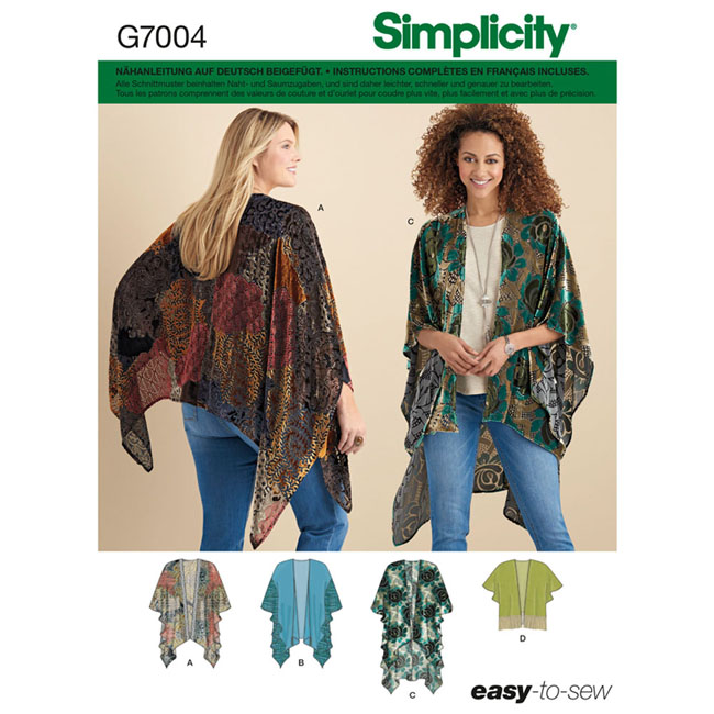7004 Simplicity Schnittmuster Kimono Poncho - Maschinensticken ...