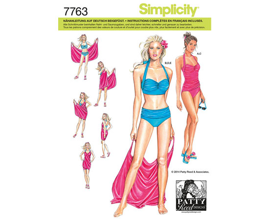 Schnittmuster Badeanzug Bikini Simplicity 7763 - Maschinensticken ...